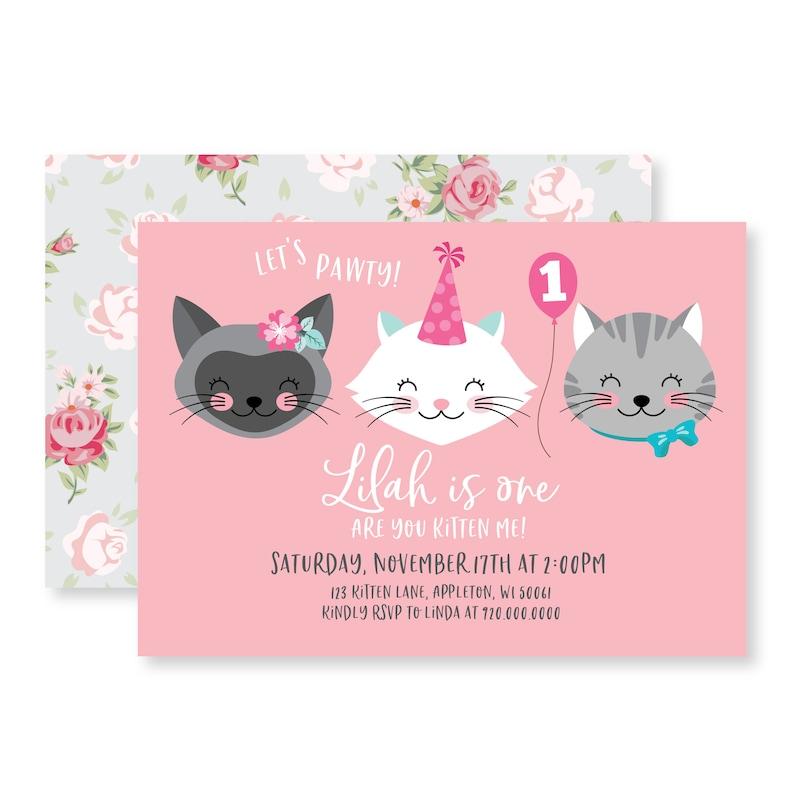 Cat Birthday Party Invitation - Girls Kitten, Cat Birthday, Printable,  Digital Invitation, Kitten Party, Digital Files