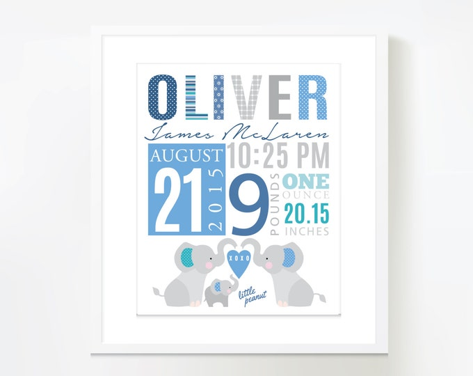 Elephant birth announcement, birth stats wall art, baby print date of birth, print birth stats, baby keepsake, birth sign, digital file