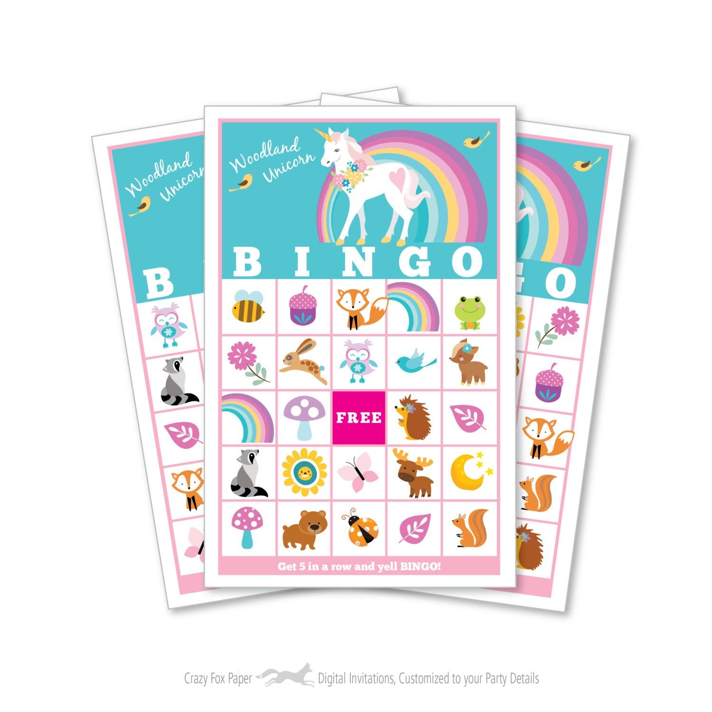 Woodland Unicorn BINGO Game