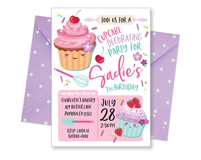 Cupcake Invitation, Baking Invitation, Cooking Party Invite, Girls Invitation, Personalized Digital Invitations