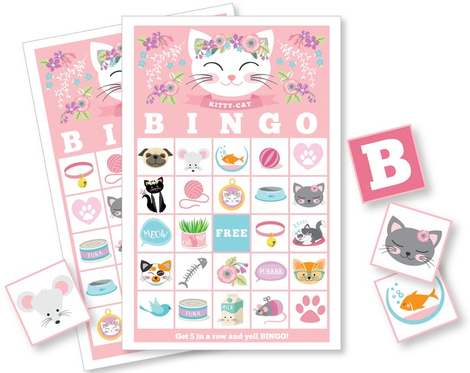 Cat BINGO Game - Cat Party Game, Girl's Printable Bingo Game - Bingo Game for Kids - Kitten Bingo Game - Instant Download