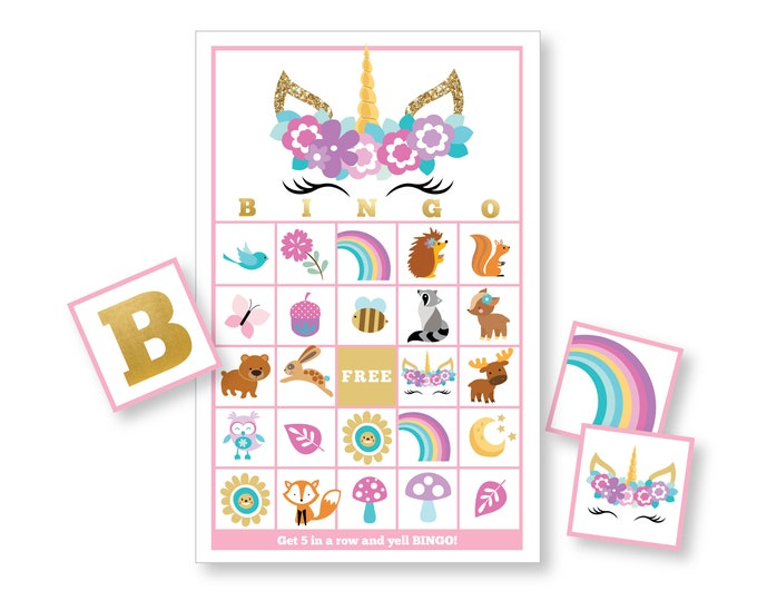 Eyelash Unicorn BINGO Game - Kid's Printable Bingo Game - Bingo Party Game - Woodland Animals and Sleeping Glitter Unicorn Instant Download