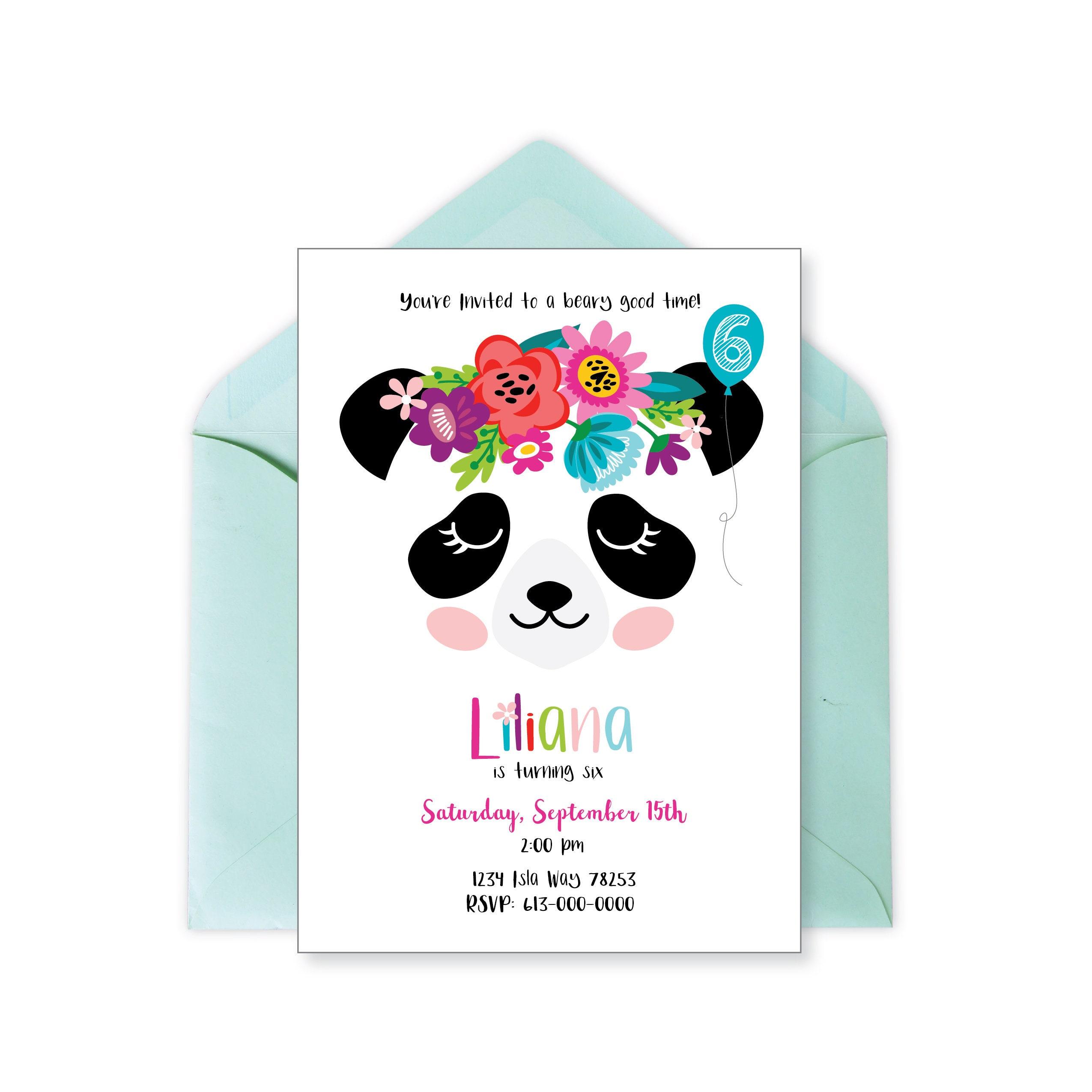 Panda Invitation, Panda Birthday Party, Panda Face Invitation ...