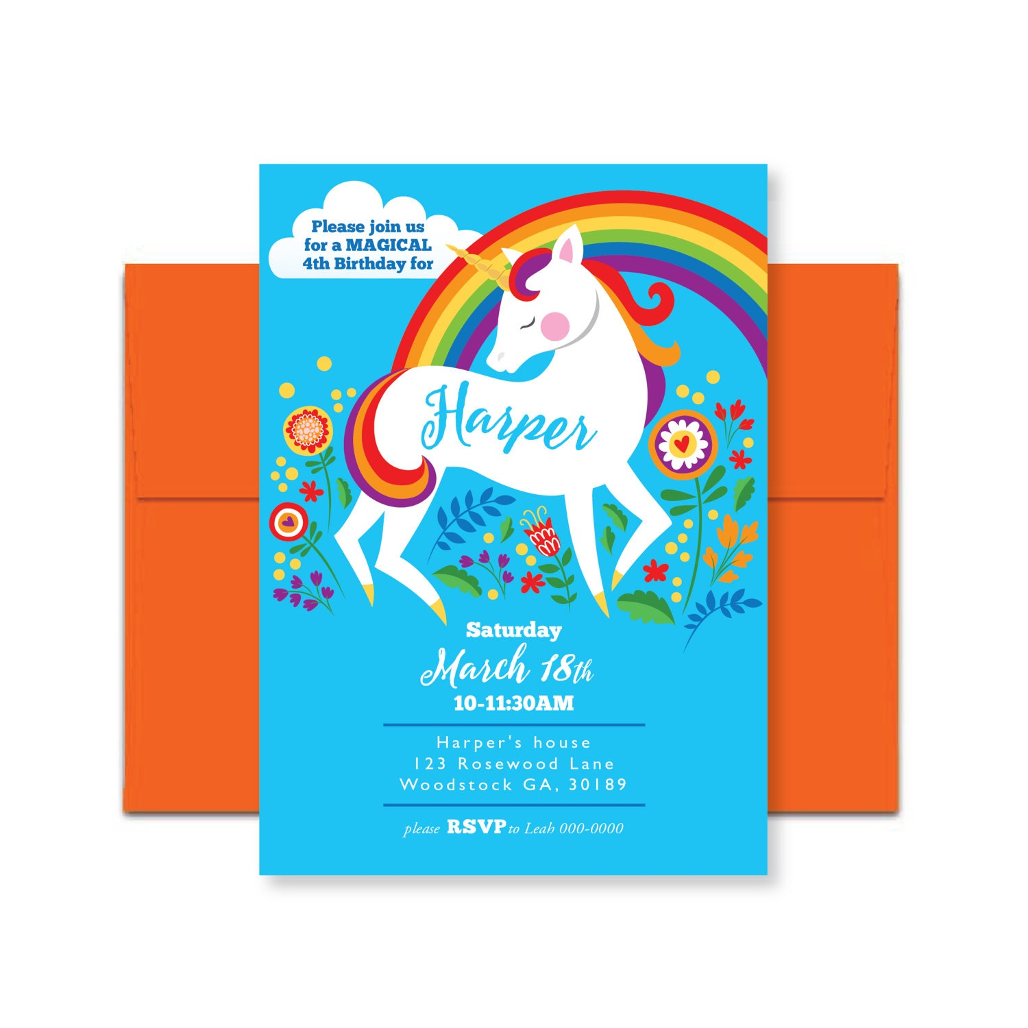 Unicorn Rainbow Birthday Invitation Printable Customized DIY Girls