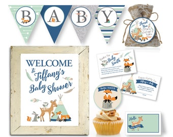 Woodland Baby Shower Party Package, Tepee Woodland Party Decorations, Forest Animals Party, Baby Shower Decor, Printable Party Pack