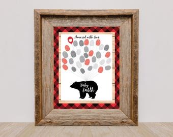 Thumbprint Tree Guestbook - Lumberjack Baby Shower / 1st Birthday Party / plaid, bear / Guestbook Wall Art / Fingerprint Tree