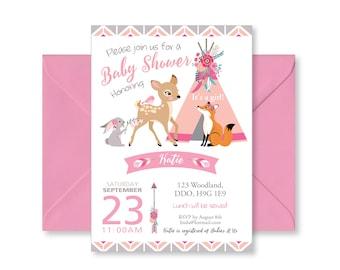 Pink Boho Tepee Baby Shower Invitation / Baby Girl / Pink and Grey / Woodland Animals Invite / Tepee, feathers, arrows, Boho shower