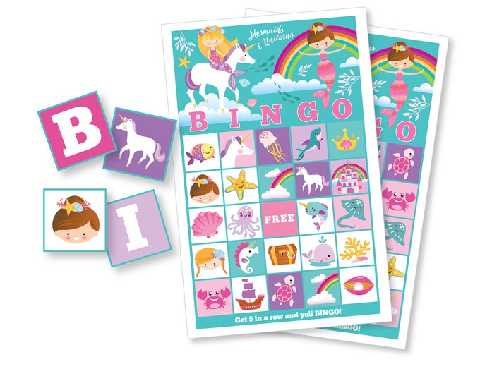 Mermaid Unicorn BINGO Game - Girl's Printable Bingo Game - Mermaid Unicorn Party Game - Girls Mermaid Bingo - Instant Download
