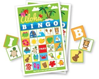 Hawaiian BINGO Game - Kid's Printable Bingo Game - Bingo Game for Kids & Adults - Hawaiian Party Game - Aloha Bingo - Instant Download