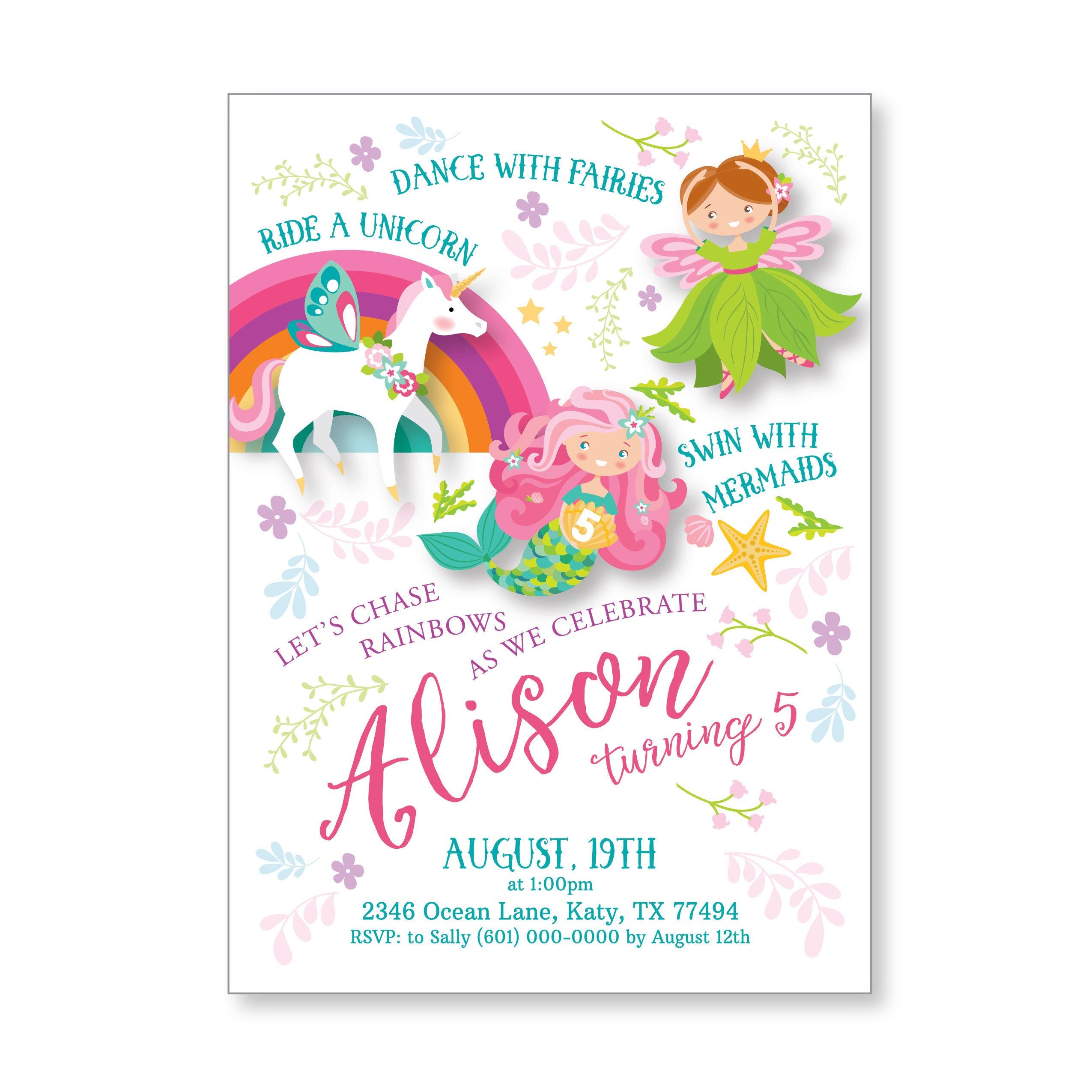 Unicorn, Mermaid, Fairy Invitation - Girls Birthday Invitations ...