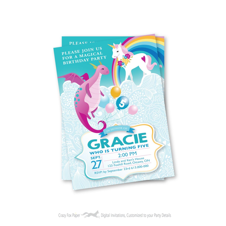 Dragon Unicorn Birthday Invitation Printable Customized Text