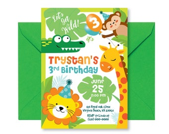 Jungle Birthday Invitation, Safari Birthday Invitation, Wild One Birthday Invite, Animals Birthday Party Invite Printable, Zoo Invite