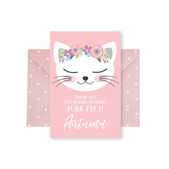 Cat Thank You Card Customized Printable Diy Thank You Card Etsy