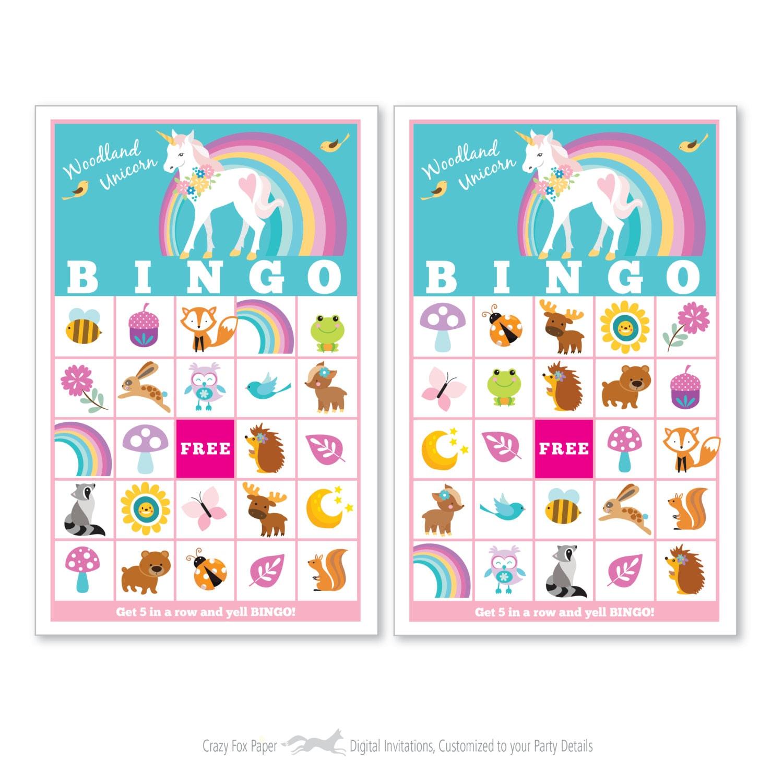 image relating to Printable Bingo for Kids called Woodland Unicorn BINGO Activity - Little ones Printable Bingo Activity