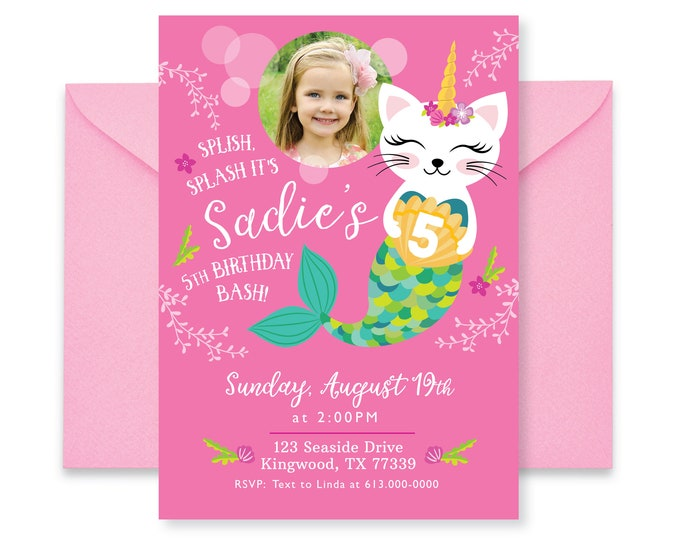 Caticorn Photo Birthday Party Invitation, Cat, Mermaid, Unicorn Birthday, Girls Printable Digital Invite, Cat, Mermaid, Unicorn, Pool Party