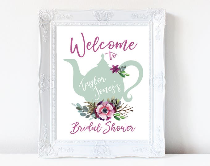 Tea Party Bridal Shower Welcome Sign, Baby Shower Welcome Sign, Printable, Succulents, Watercolor, Bride Luncheon, Fall Bridal Shower