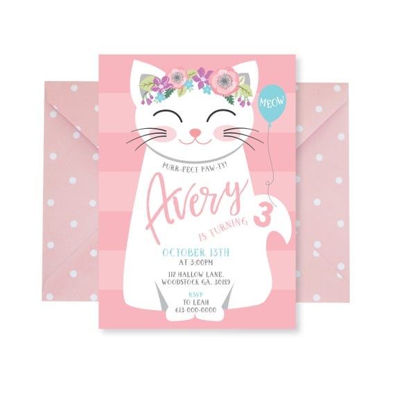 Cat Birthday Party Invitation Kitten Cat Birthday Girl Etsy