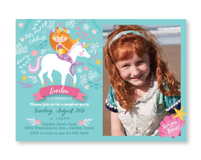Mermaid Unicorn Invitation, Girl's Birthday Party, Mermaid Unicorn Party, Photo Invitation, Printable, Customized text invitation