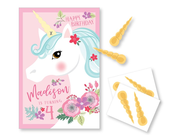 Pin the Horn on the Unicorn / Unicorn party game - DIY party game - party game for girls - Floral Unicorn game / Pin the tail Game