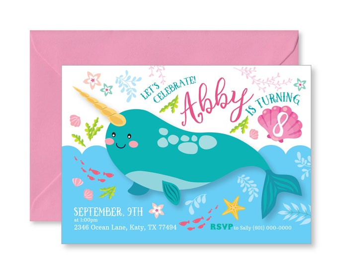 Narwhal Invitation - Printable, Customized, DIY invitation, Girl's Narwhale Party, Pool Party, Unicorn of the Sea Invite