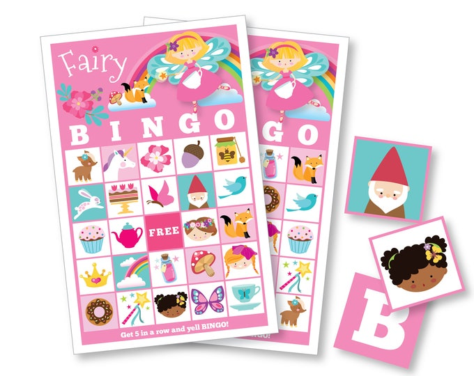 Fairy BINGO Game - Girl's Printable Bingo Game - Bingo Game for Girls - Fairy Tea Party Party Game - Girls Fairy Bingo - Instant Download