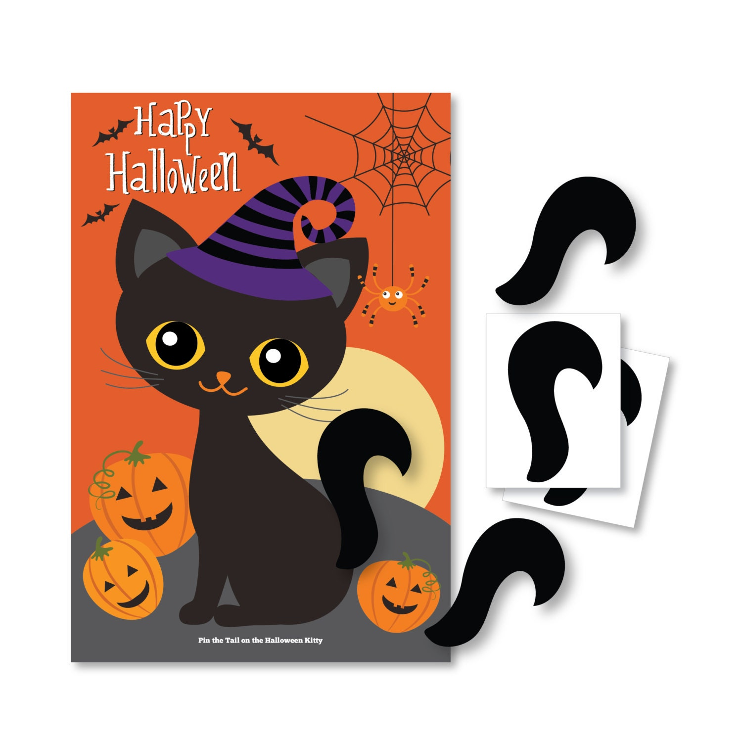 pin the tail on the halloween cat party game diy party game | etsy