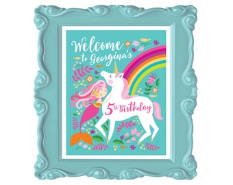 Mermaid Unicorn Birthday Welcome Sign, Printable, Customized Text, Woodland Unicorn Party Sign, Unicorn Welcome Poster, Digital Files