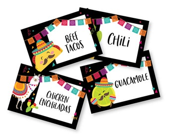 Fiesta, Mexican  Food, Name, Tent Cards or Labels - Customized Printable DIY Place Cards - Fiesta Food Tags, Mexican Party Tent Cards