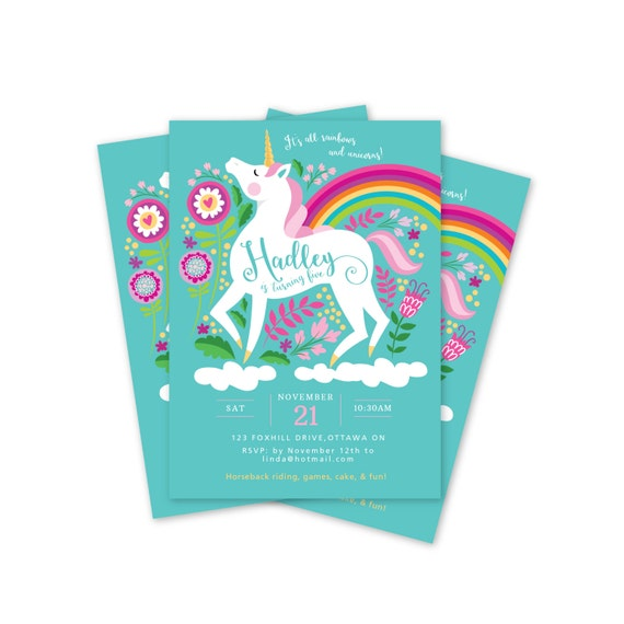Unicorn Birthday Invitation Printable Customized DIY Girls