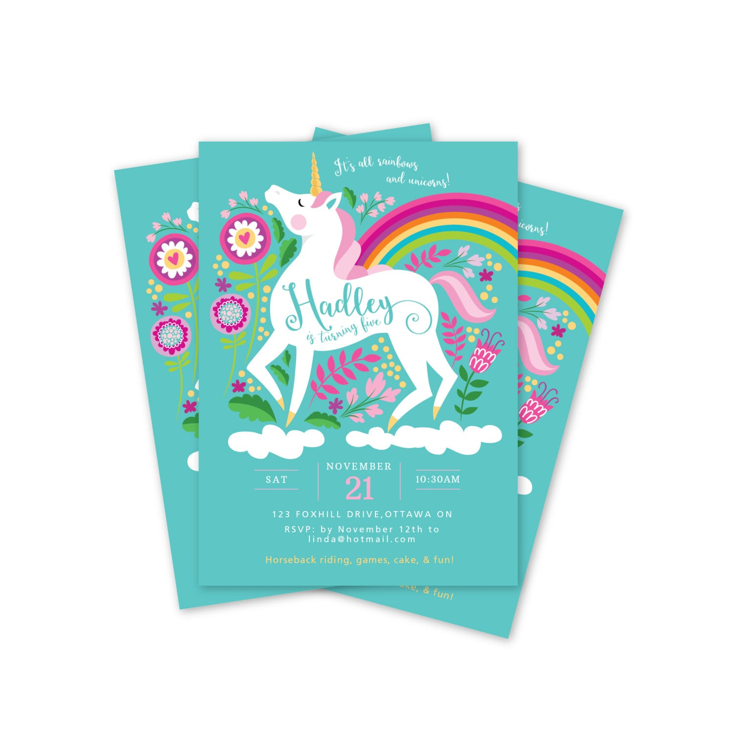 Unicorn Birthday Invitation Printable Customized DIY Girls