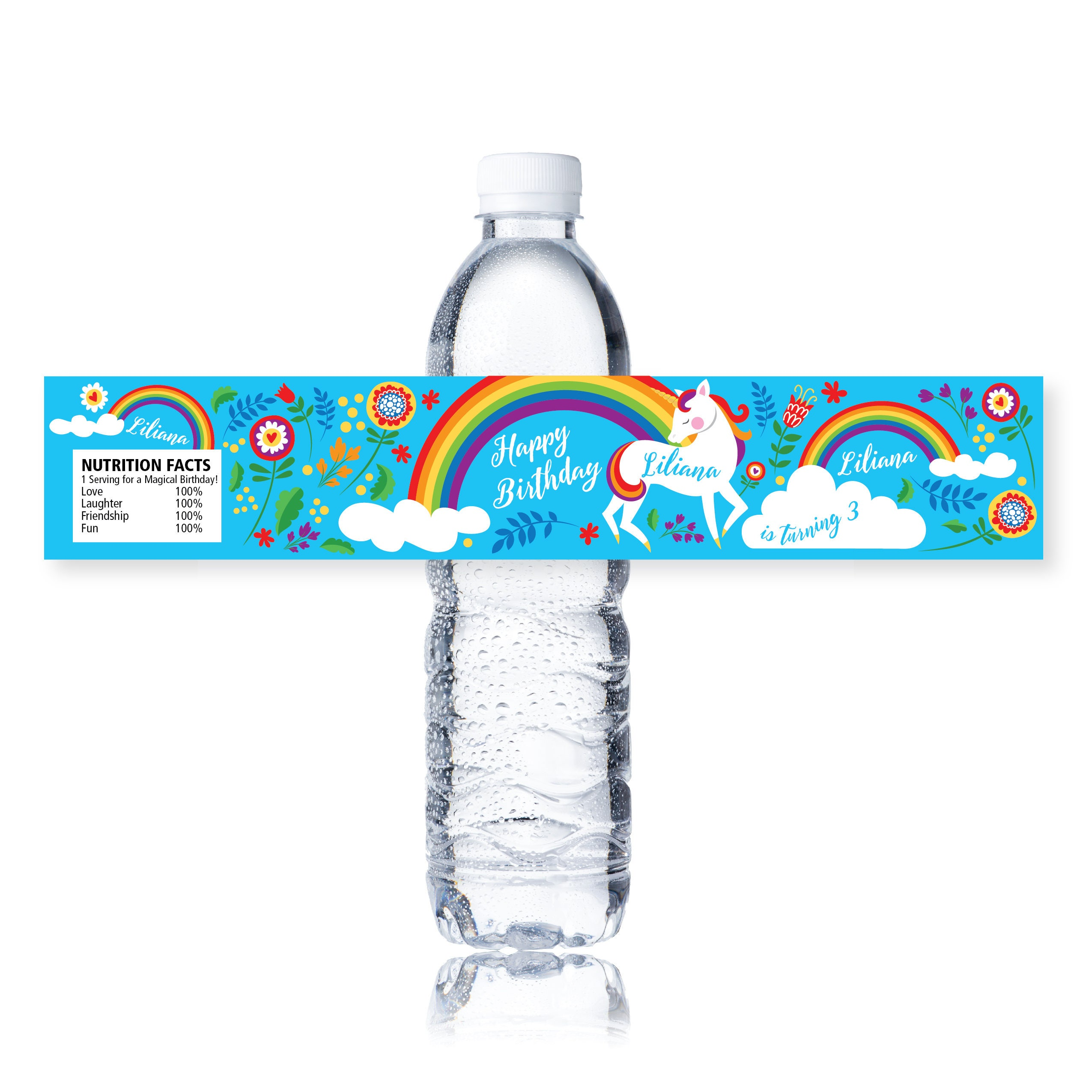 Rainbow Unicorn Water Bottle Label Customized Printable