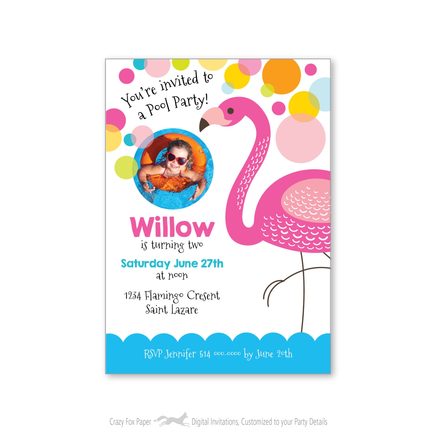 Flamingo Pool Party Invite Kids Photo Birthday Invitation Customized Printable DIY Pink Gallery