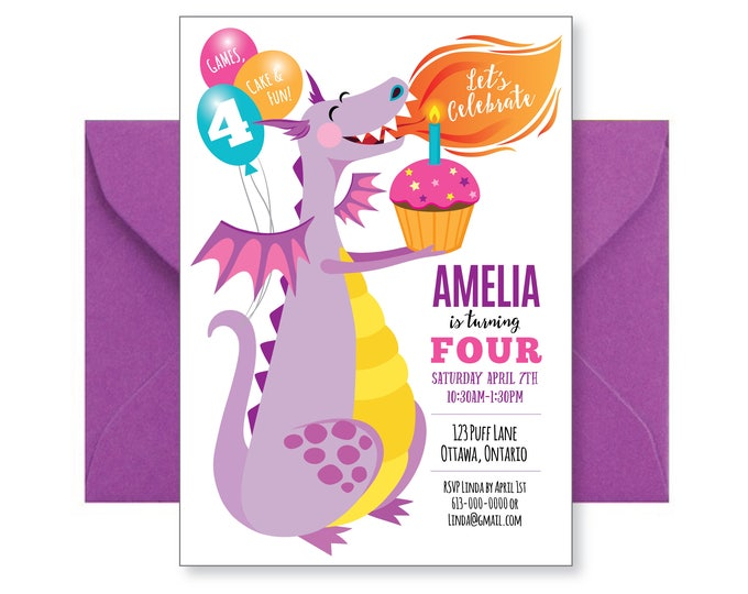 Purple Dragon Birthday Invitation - Cute Dragon Invitation, Printable Personalized Invite, Birthday Invite, Birthday Girl, Dragon Party