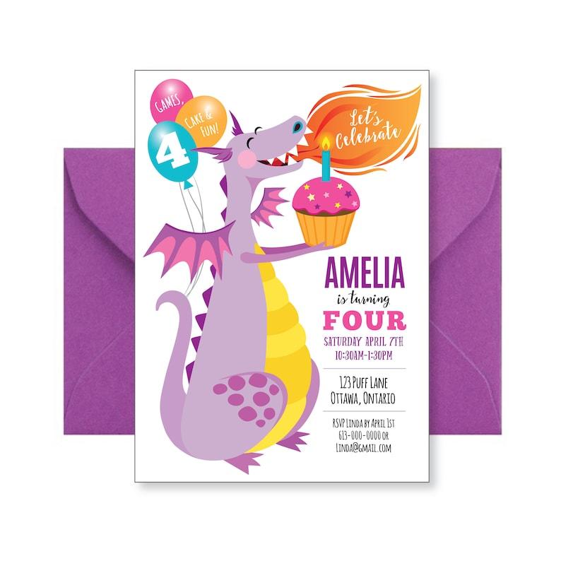 Purple Dragon Birthday Invitation Cute Dragon Invitation Etsy