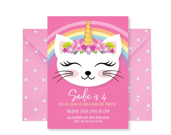 Caticorn Birthday Party Invitation, Cat, Unicorn Birthday, Girls Printable Digital Invitation, Cat, Unicorn, Party