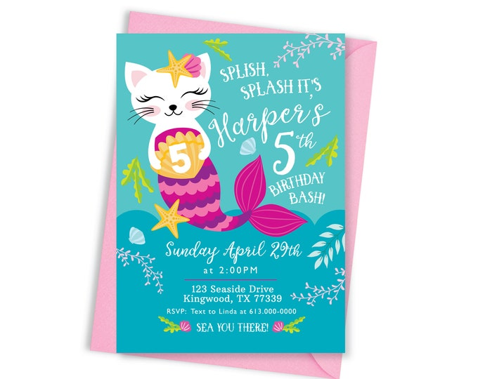 Mermaid Cat Birthday Party Invitation, Kitten, Cat, Mermaid Birthday, Girl Printable Invitation, Cat Party, Mermaid Party, Pool Party