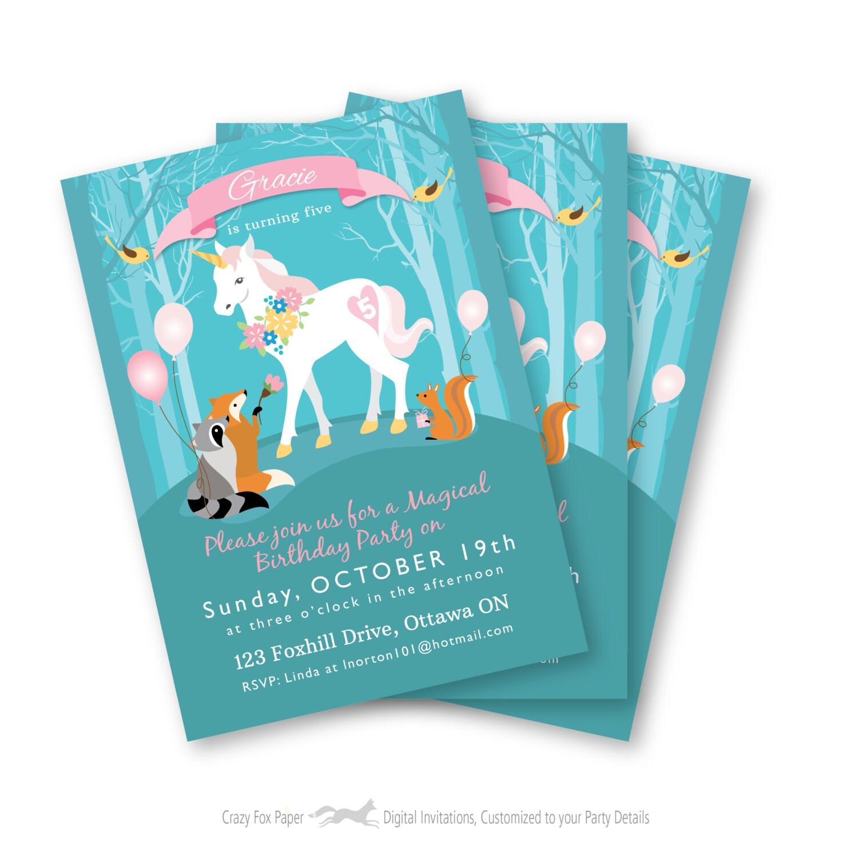 Customized Text Girls Unicorn Birthday Party Woodland Animals Gallery Photo