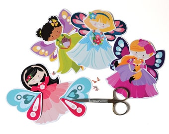 Fairy Articulated Paper Dolls / 6 Articulated Paper Dolls / Instant Download / DIY Party Craft / Fairy Party / 2 sizes