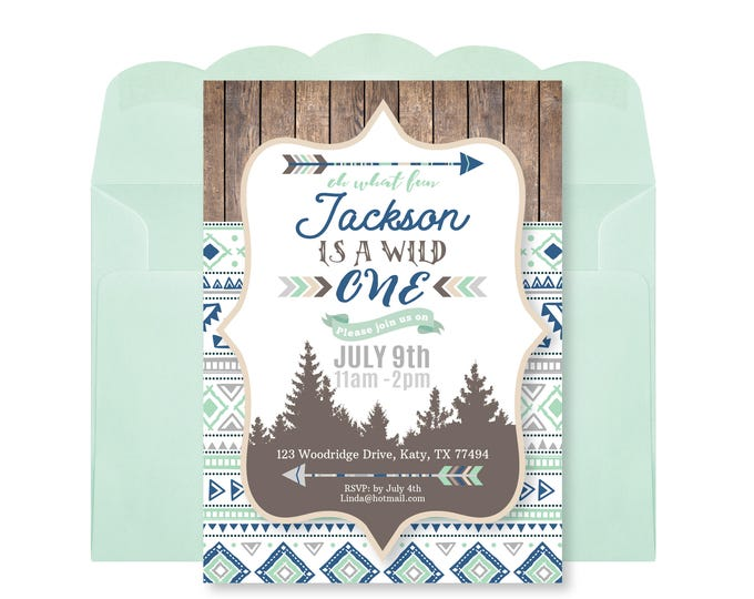 Wild One Birthday Invitation, First Birthday Invite, Printable, Customized, DIY invitation, mountains, arrows, wood, Tribal Birthday Invite