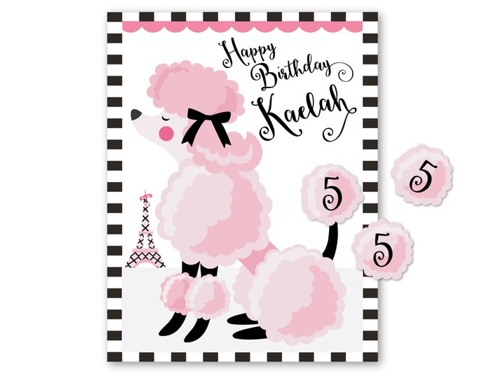 Pin the tail on the POODLE- party game - DIY party game - party game for girls - poodle game - digital files