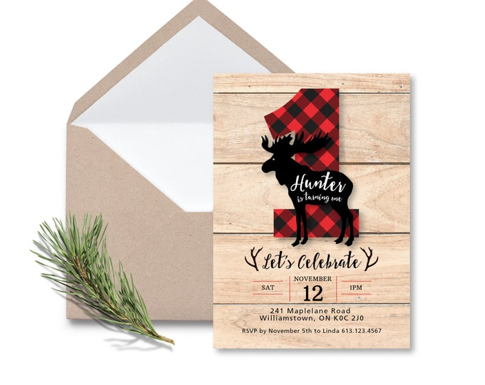 Lumberjack First Birthday Invitation / Printable, Customized, DIY invitation / moose, buffalo plaid, wood / Rustic Woodland Lumberjack boy