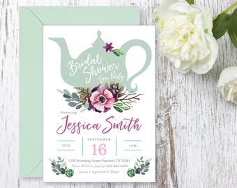Tea Party Bridal Shower Invitations, Baby Shower Invite, Invite Printable, Succulents, Watercolor, Bride Luncheon, Fall Bridal Shower
