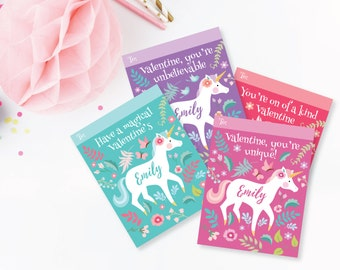 Unicorn Valentines Day Cards - printable DIY card classroom, Valentine printable custom text, print for kids classroom, Valentine's Unicorn
