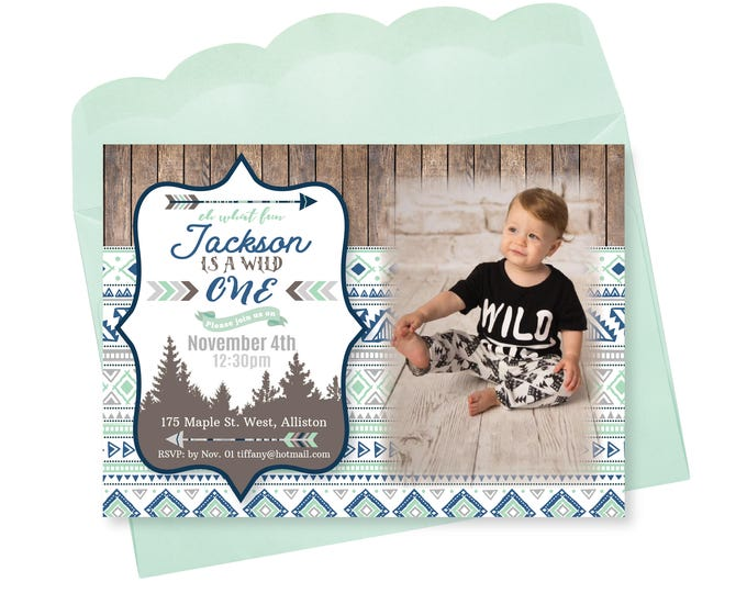 Wild One PHOTO Birthday Invitation, First Birthday Invite, Printable, Customized, DIY invitation, mountains, arrows, wood, tribal invite