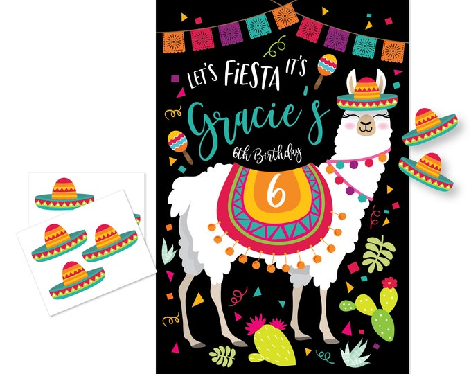 Pin the Sombrero on the Llama / Mexican party game - DIY party game - party game for girls - Sombrero game / Pin the tail Game