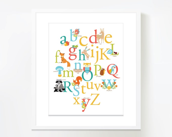 Woodland ABC theme Wall Art - Instant Download, DIY Wall Art