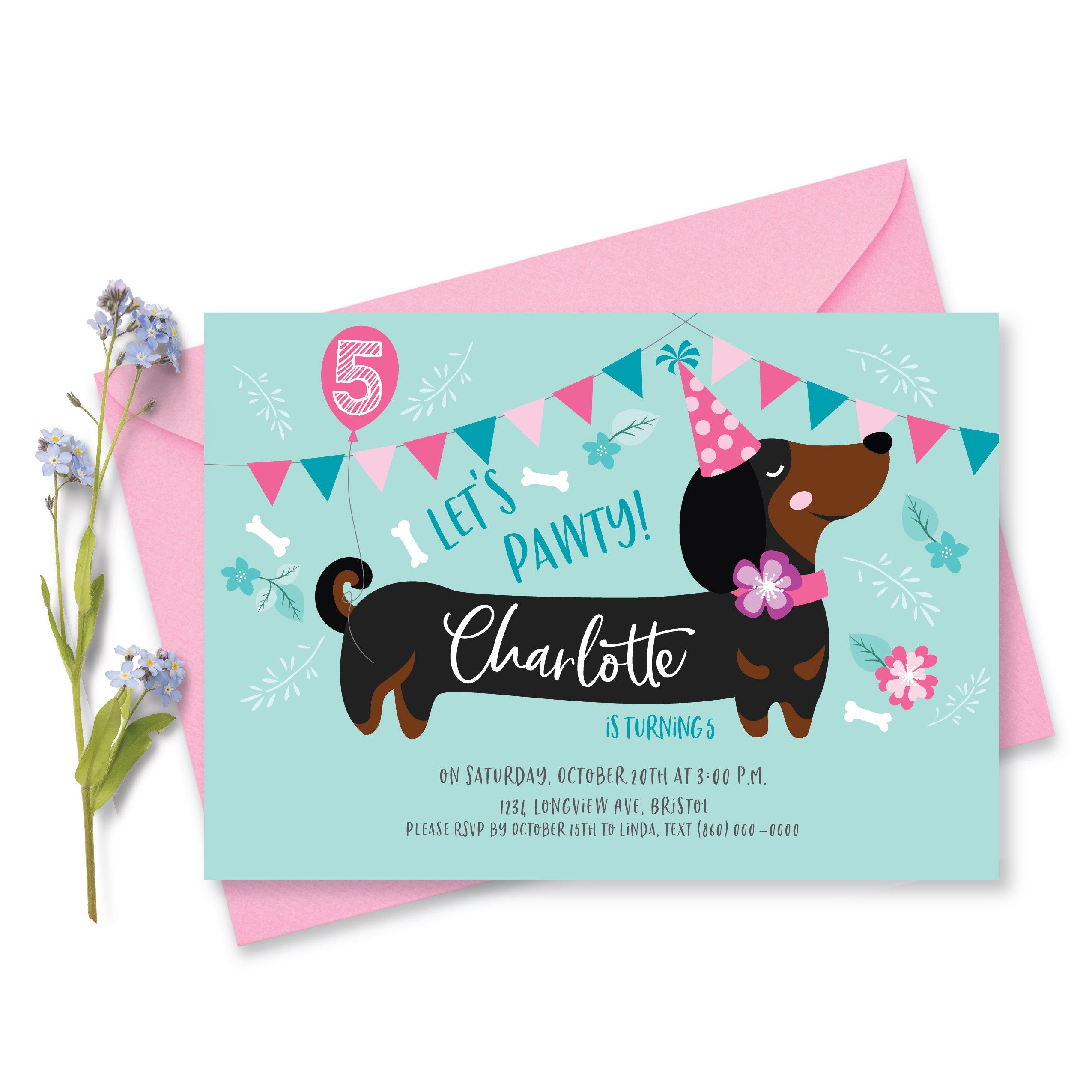 Dog Birthday Party Invitation Dachshund Invite Girls Puppy Etsy