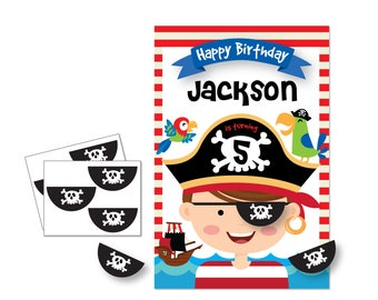 Pin the Eyepatch on the Pirate / Pirate- party game - DIY party game - party game for boys - pirate game - birthday party game