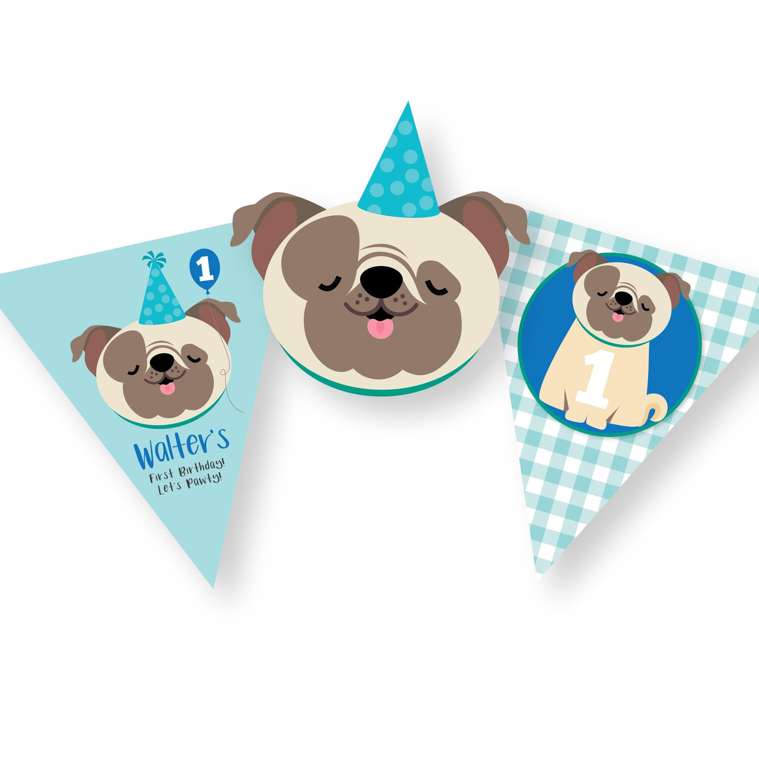 Pug Birthday Bunting Boys Banner Dog Garland Printable