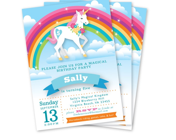 Rainbow Unicorn Birthday Invitation, Printable, Customized, DIY, Girls Birthday Invite, Rainbow Party Invite